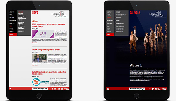 AIDS Foundation of Chicago Site on Tablets