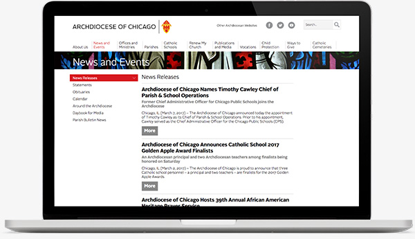 Archdiocese of Chicago Site on Laptop