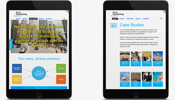 Civic Consulting Alliance Site on Tablets