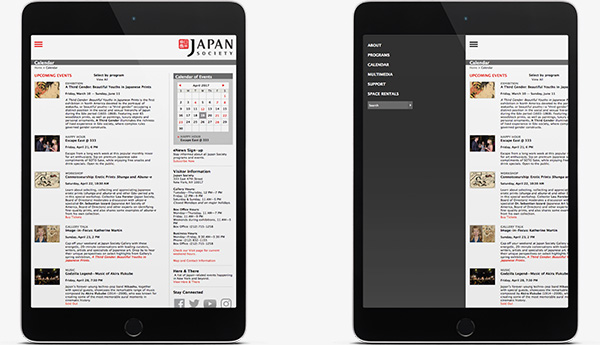 Japan Society Site on Tablets